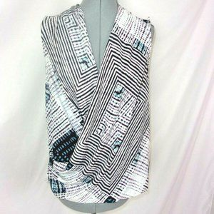 NYDJ Wrap Style Blouse Sleeveless M Purple Blue
